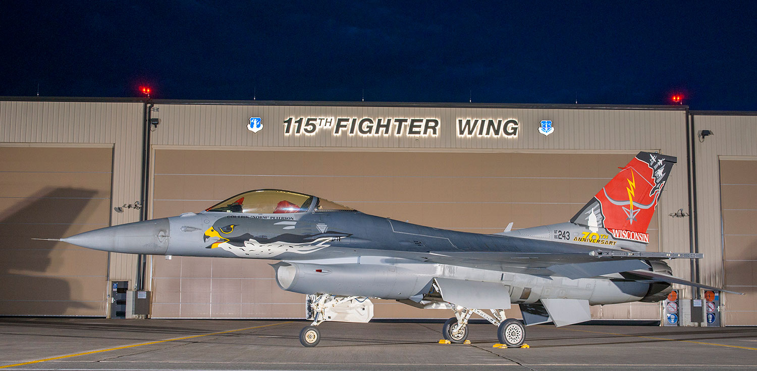 Fighter jet at Truax Field's 115th Fighter Wing
