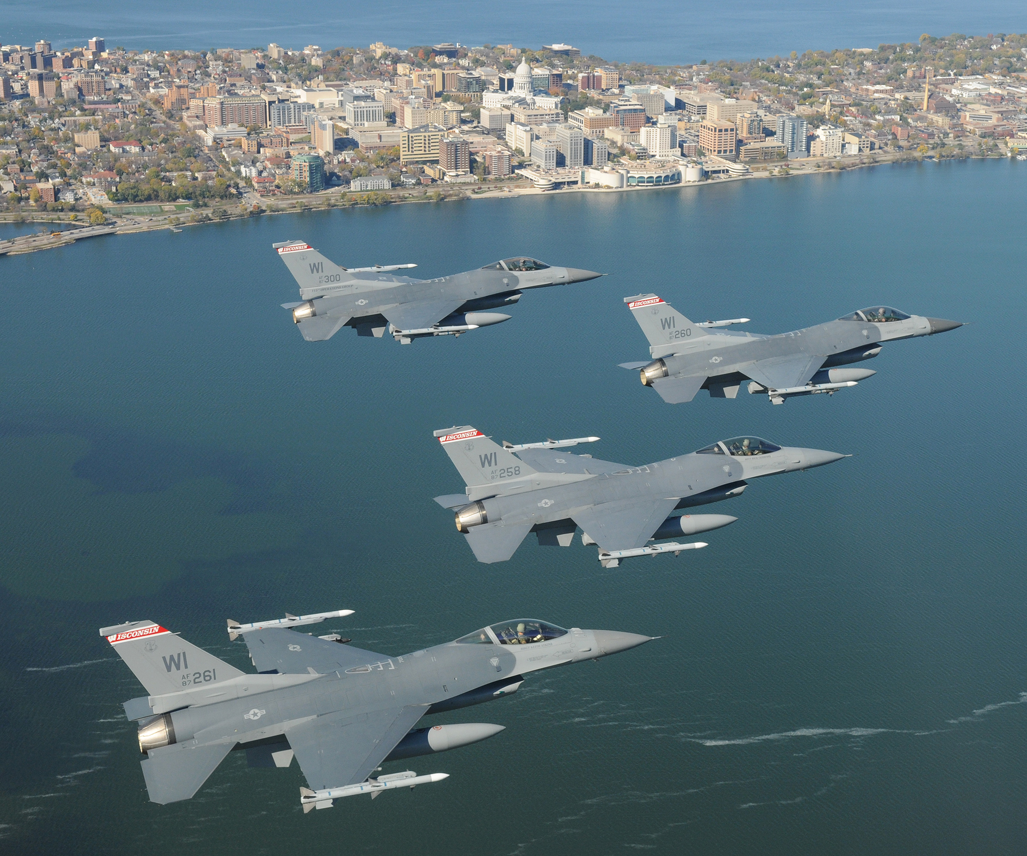 Four jets flying over the Madison, WI, isthmus