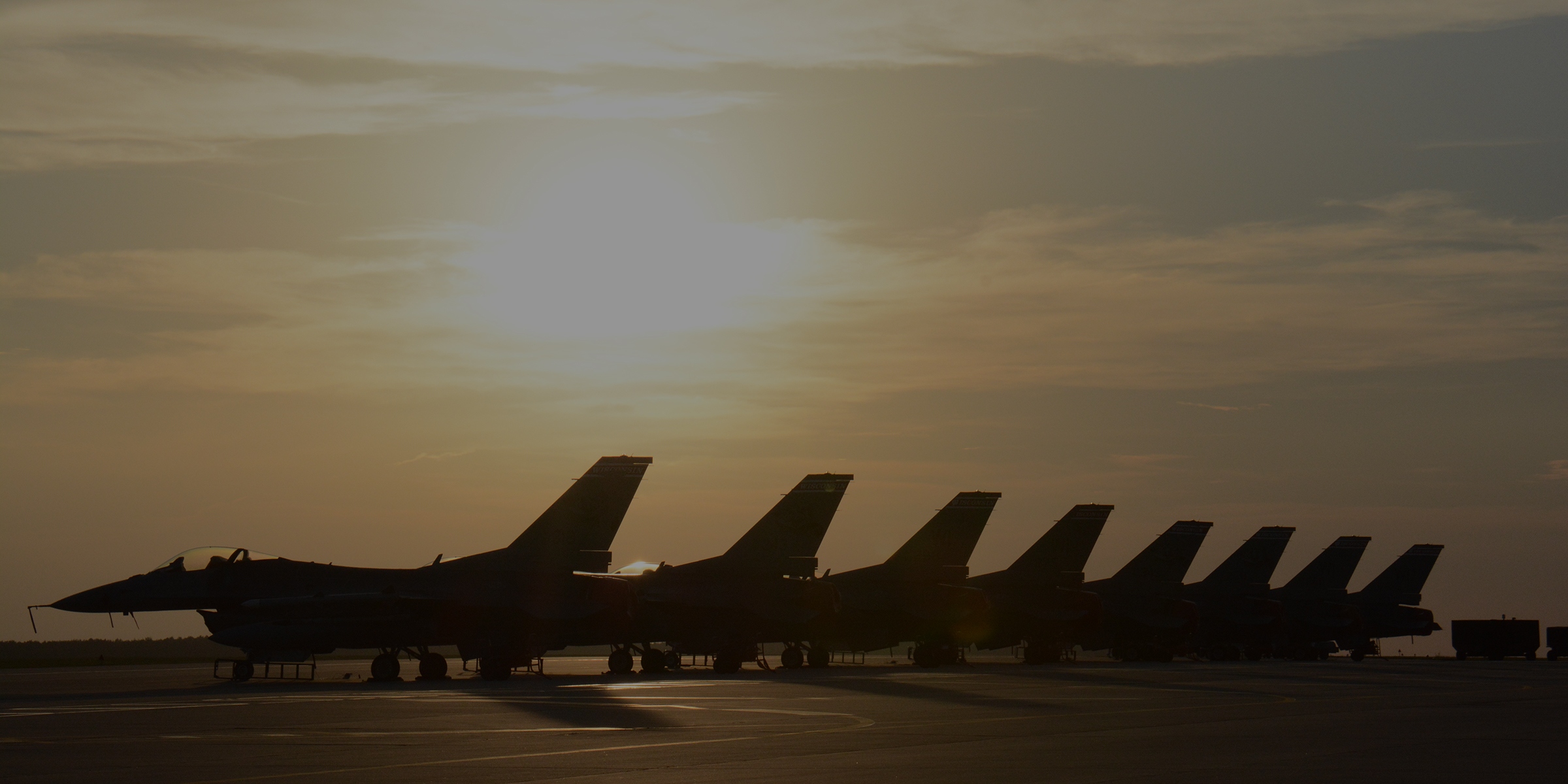 Series of jets at Truax Base during sunset